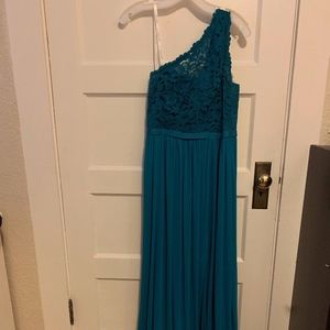 David's Bridal Long One Shoulder Lace Dress